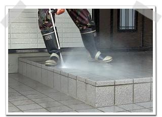 玄関ポーチ タイルの洗浄