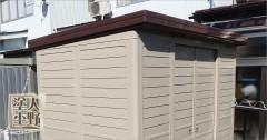 富山県高岡市 住宅塗り替え スチール製物置の仕上げ塗装