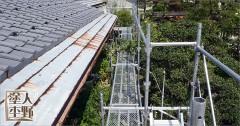 富山市呉羽 住宅屋根の塗り替え 仮設足場の設置