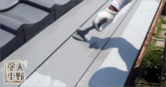 富山市呉羽 住宅屋根の塗り替え 中塗り